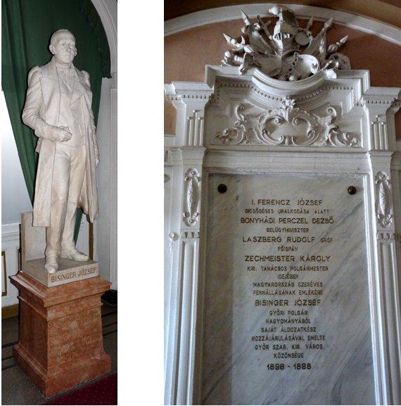 városháza belül, bisinger szobor
